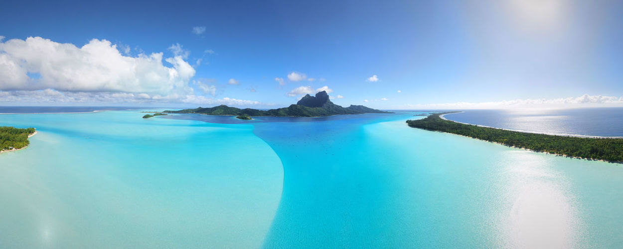 Panoramic view of bora bora against sky