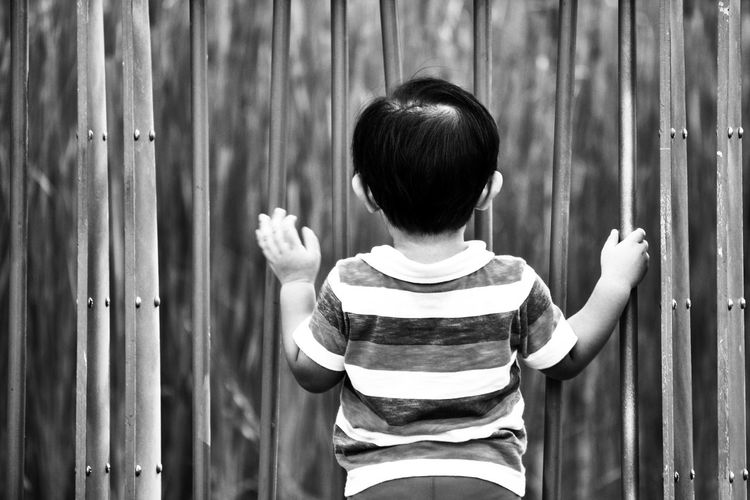Rear View Of Boy Standing By Gate