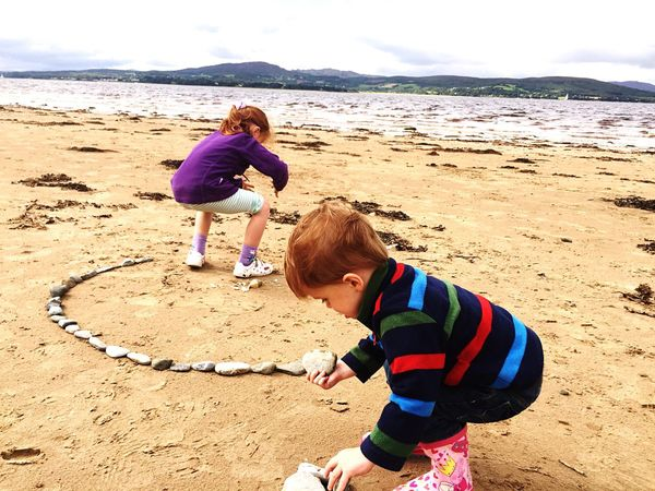 My kids built this stone circle together Togetherness Circle Beach Family Brother & Sister