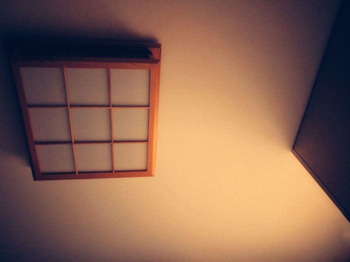 Japanese Style Celling Lamp Celling Lamp Home Interior Close-up Square Shape Grid Wooden