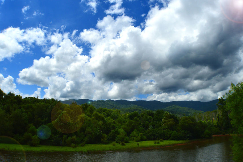 Beauty In Nature Caryville Tennessee Cloud Cloud - Sky Cloudy Cove Lake State Park Green Color Lake Landscape Mountain Mountain Range Nature No People Outdoors Reflections ☀ Sky Summer 2016☀️☀️ Tranquil Scene Tranquility Tree Water