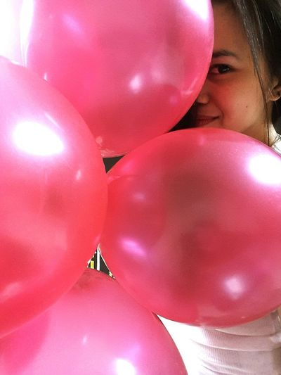 balloon 🎈🎈🎈🎈 Balloon Red Women EyeEm Best Shots EyeEm Philippines Popular Photos Love The Colors Lady Emotions Happy Girl  Balloon One Person Pink Color People Indoors  Close-up Adult