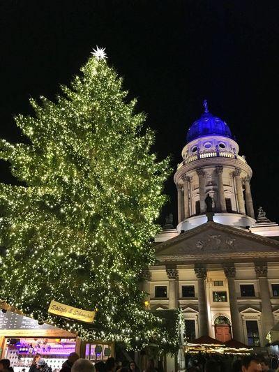 Christmas Tree Christmasmarket Ready Lights Building Gandarmen Markt, Berlin