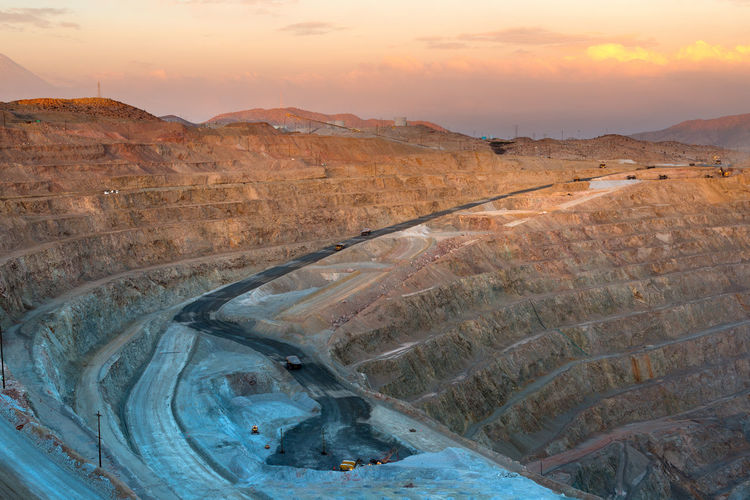 View from above of an open-pit copper mine in peru