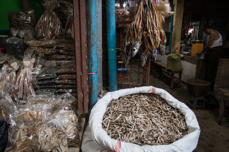 At The Market Bazaar Burma Business Dried Fish  Dry Fish Fish Food For Sale Indoors  Ingredients Market Market Stall Myanmar Retail  Street Photography Thandwe