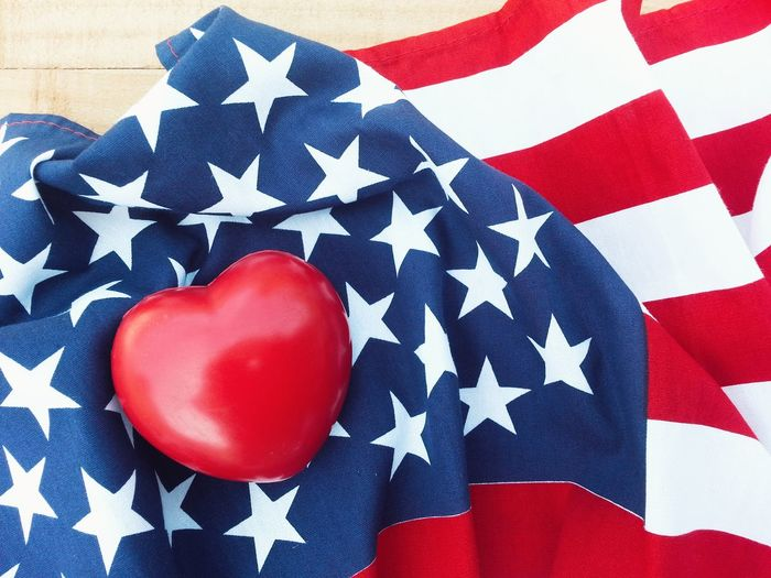 Red heart on american flag 4th Of July Liberty Cheerful Greeting Celebrate Army Soldier Memory Holiday Peaceful Peace Pride Country Nation Event Memorial Day Anniversary Independence Patriotism Flag Memorial Remember Celebration America USA