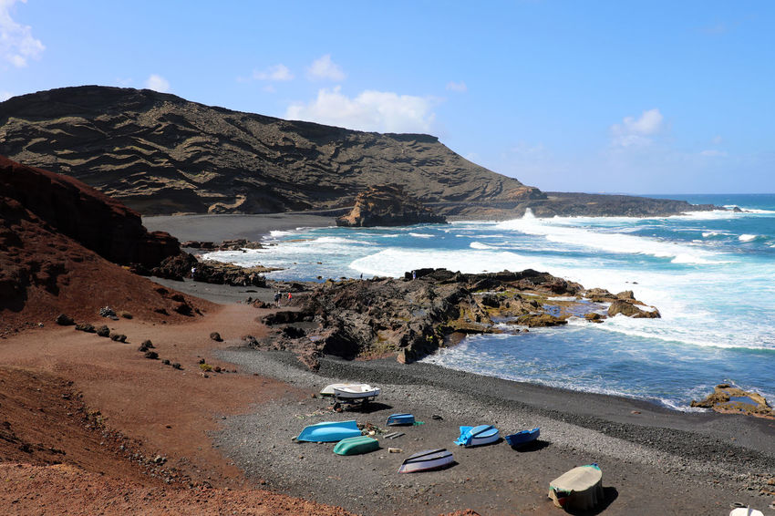 El Golfo, Yaiza, Spain El Golfo Lanzarote Green Color Waving Beauty In Nature Day El Golfo Green Lake Green Lake Park Mountain Nature Rock Rock - Object Scenics - Nature Sky Tranquil Scene Water