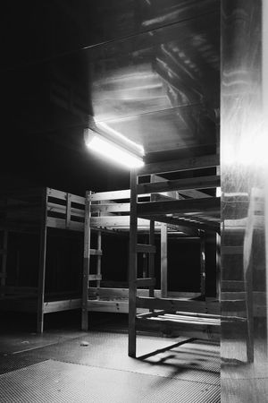 Beds stored in former ICC refrigerators. Indoors  Architecture No People Beds Bed Urbanexploration Black And White Collection  Light And Shadow Abandoned Berlin ICC Black & White Berlin Photography Architecture_collection Perspective Illuminated Door Low Angle View Abandoned Abstract Abandon_seekers Abandoned Places