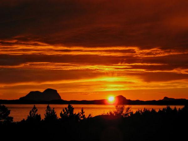 Alden Beauty In Nature Mountain Orange Color Sea Silhouette Sky Sun Sunset Water