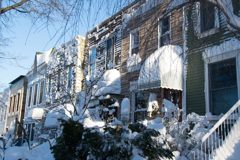 Houses Park Slope Snow Snowy Houses South Slope Street Scene Sun On Snow Urban