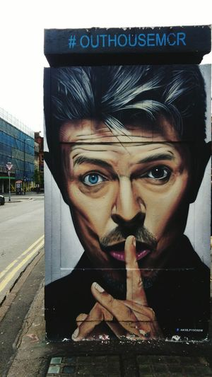 the art of akse19 Graffiti Street Photography Streetart Streetphotography Paint Portrait Bowielovers Bowie Manchester