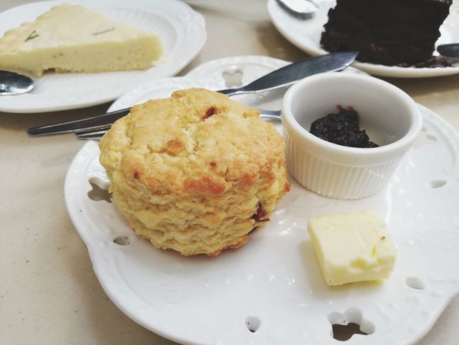 Scones with Jam and Butter.. Tee Time Jam Butter Scones Dessert Plate High Angle View Sweet Pie Close-up Sweet Food Food And Drink