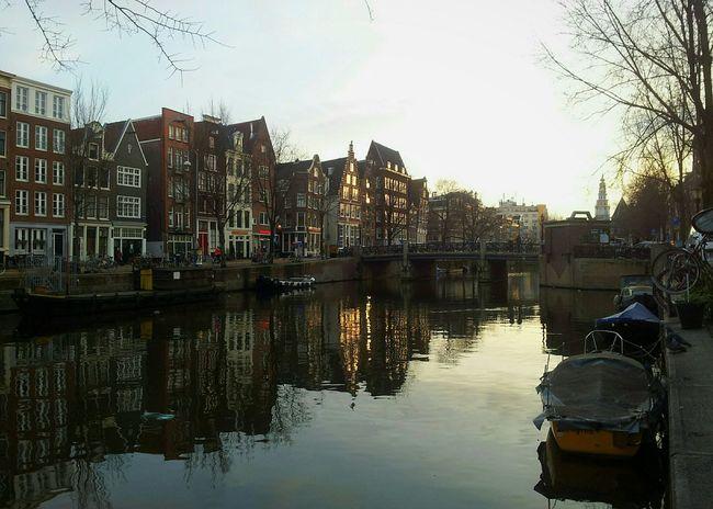 Somewhere in Amsterdam. Taking Photos Walking Around Water Reflections Golden Hour Medieval Architecture Amsterdamse Grachten