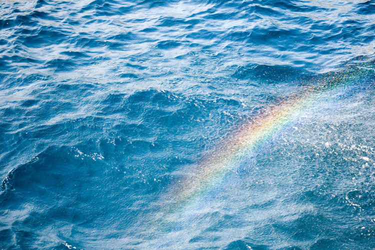 Water Sea Nature No People Day Rippled Backgrounds Full Frame Motion Multi Colored High Angle View Outdoors Beauty In Nature Wave Blue Pattern Rainbow Water Rainbow Sea Rainbow Copy Space