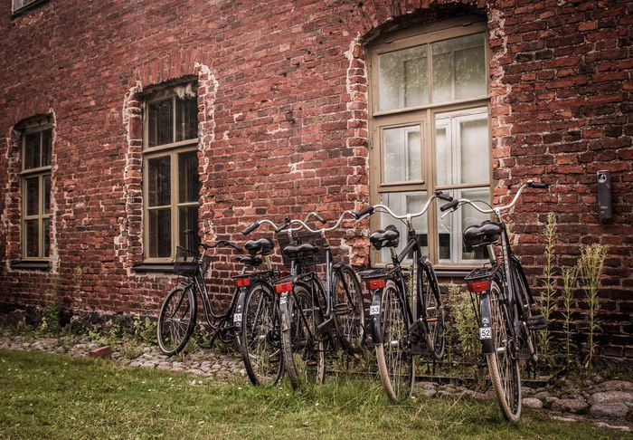 Finland Soumenlinna Brick Wall Bicycle Built Structure Stationary Window No People Building Exterior Architecture Retro Styled