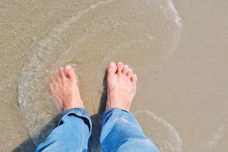 on the beach Bare Feet Relaxing Weekend Day Looking Down ñee Low Section Water Beach Sand Men Standing Human Leg Sea barefoot Wave Human Feet Toenail
