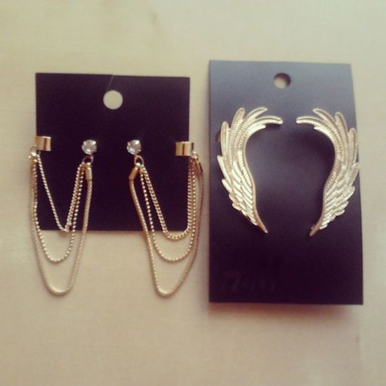 Finalmente miei <3 Bigiotteria Gold Beautiful Earrings rings wings diamond h&m