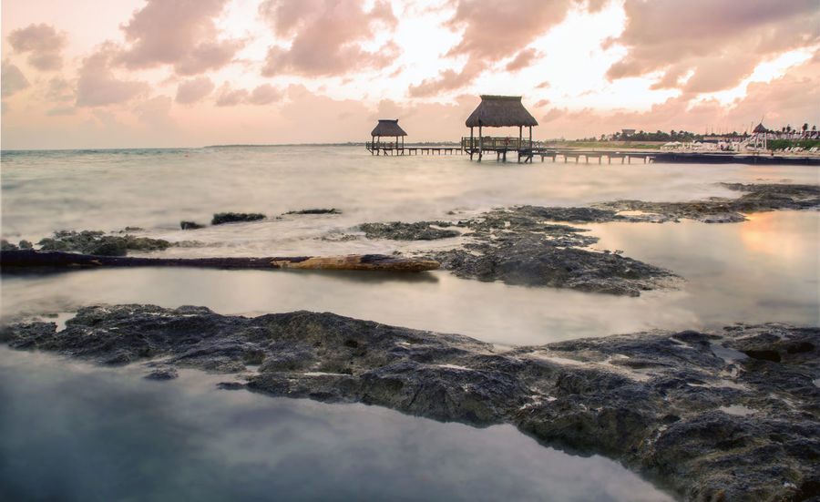 Architecture Beach Beauty In Nature Building Exterior Built Structure Cloud - Sky Day Horizon Over Water Landscape Long Exposure Nature No People Outdoors Scenics Sea Sky Sunset Sunset_collection Tranquility Travel Vacation Water