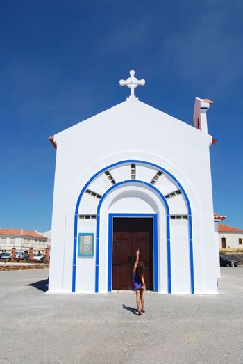 Church Alentejo,Portugal Zambujeiradomar Blue Sky Portugal Zambujeira Do Mar Girl Pointing