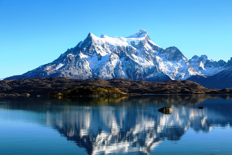 Reflection of the mountain in the water of a lake in patagonia