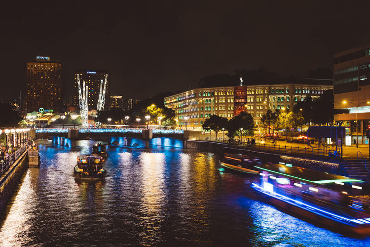 Singapore Water ClarkQuay Night Boats
