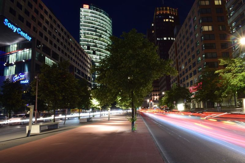 Berlin Potsdamer Platz City Building Exterior Architecture Built Structure Night Road Illuminated City Life City Street Motion