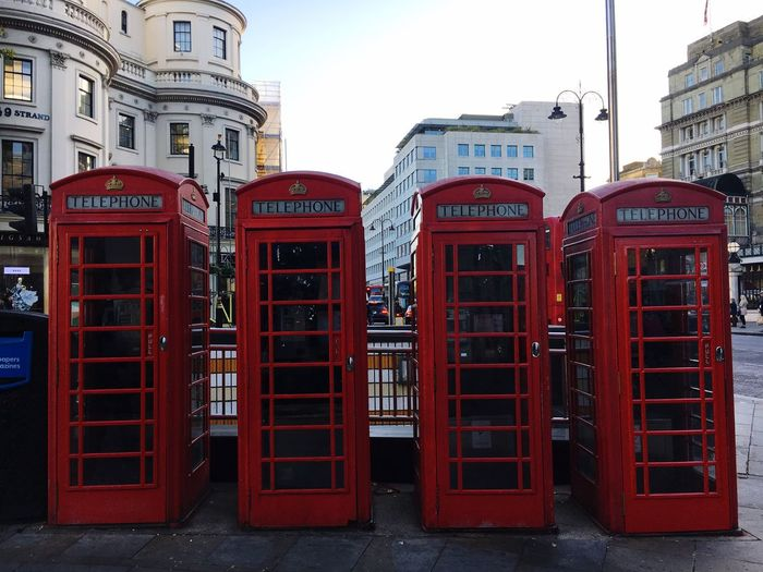 Red Telephone Booth Red Phone Boxes London Charing Cross Iconic Building Exterior Communication Outdoors Walking To Work