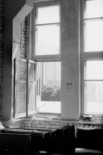 Window in a dressing room. 35mm Film Behind The Scenes CHM Universal 100 Theater Black And White Dressing Room Film Photography Helios 44-2 58mm F2 Window