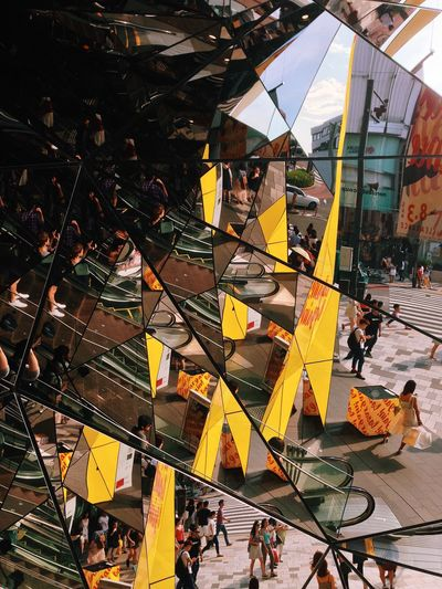 Mirror Reflection People People Watching Tokyo Japan Harajuku Architecture Yellow Summer