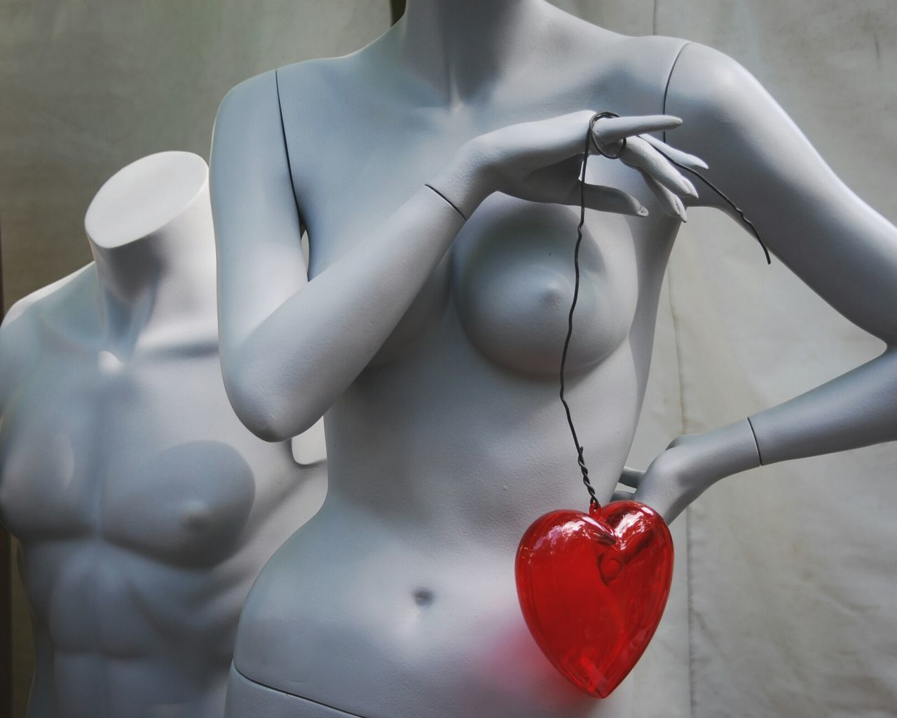 Midsection Of Mannequin With Heart Shape Plastic