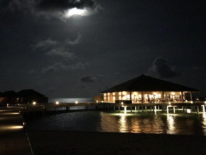 Night Moon And Clouds Restaraunt Ocean Cocoon Maldives Ookolhufinolhu Maldives