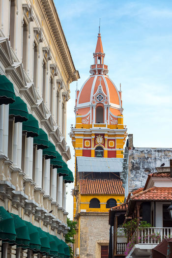 View of the yellow and pink cathedral in Cartagena, Colombia Architecture Building Caribbean Cartagena Cartagenadeindias Cathedral Church City Colombia Colonial Colorful Downtown Façade Historic Latin Old Outdoor Religion Southamerica Street Symbol Town Tropical Unesco Urban