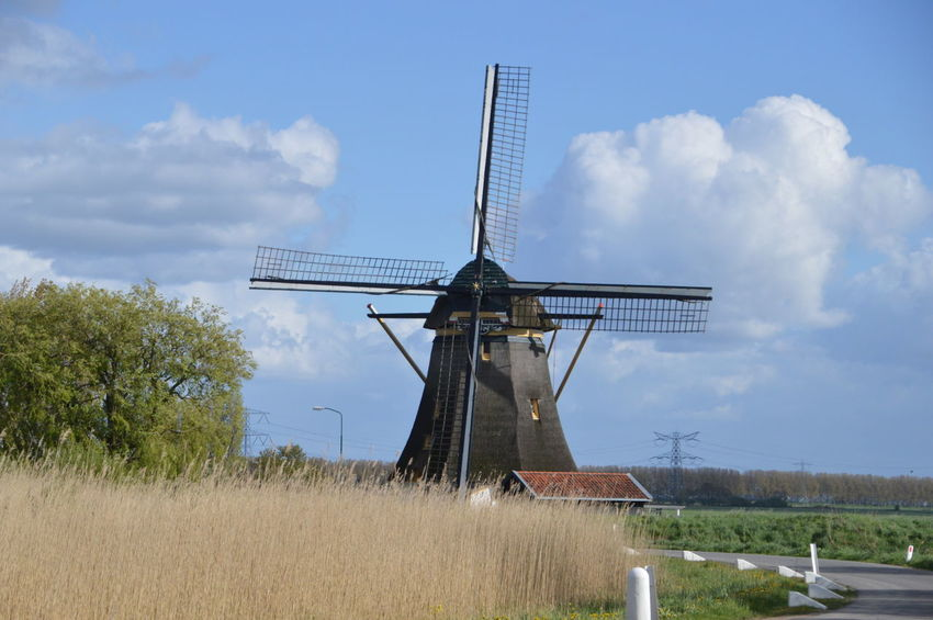 Windmill Around Abcoude Netherlands Cloud Netherlands Abcoude Along Blue Cloud - Sky Clouds Landscape No People Rural Scene Sky Street Traditional Windmill White Windmill