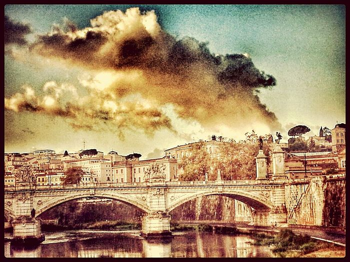 Glitch Taking Photos Stormy Sky Rome with glitch The Tiber