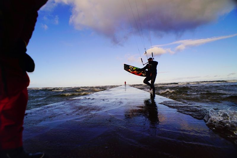 Beach Water Sea Reflection One Person Sky Cloud - Sky Outdoors Kiteboarding Kite Surfing