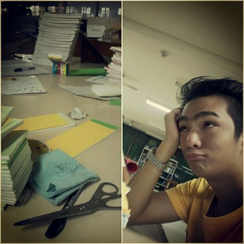 work mode ! hahaha Stressed Haggard Sick TambokSakun ! .
