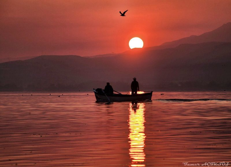 Gölyazı 2 Sunset Flying Bird Nature Reflection Animals In The Wild Beauty In Nature Silhouette Water Orange Color Mountain Lake Two People One Animal Waterfront Scenics Sky Sun Real People Outdoors