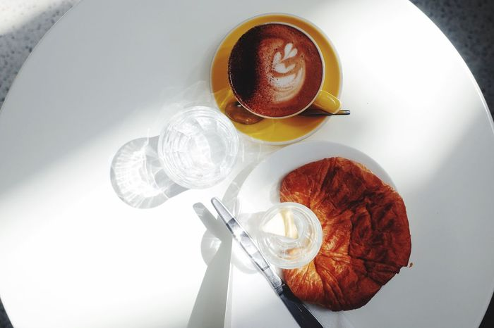 Drink Food And Drink Refreshment Coffee Cup Coffee - Drink Directly Above Table High Angle View Freshness Breakfast Food Healthy Eating Frothy Drink Cappuccino Saucer No People Plate Breakfast Froth Art Croissant