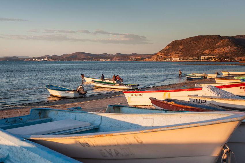 Panga fishing boats on the beach in La Paz, Mexico. Baja California Sur La Paz Baja California Sur Beach Beauty In Nature Boat Fishing Fishing Boat Mode Of Transportation Moored Nautical Vessel Outdoors Panga Scenics - Nature Sea Sea Of Cortez Sky Sunset Transportation Water