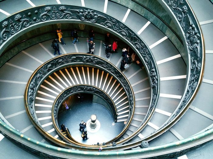 Steps And Staircases Staircase Steps Railing Architecture High Angle View Built Structure Spiral People Spiral Staircase Directly Above Adults Only Indoors  Adult Full Length Large Group Of People Only Women Day VaticanMuseum Vatican 🇻🇦 Vatican Museum Spiral Staircase Italianplace Architecture Moving Around Rome Go Higher EyeEmNewHere Adventures In The City The Architect - 2018 EyeEm Awards