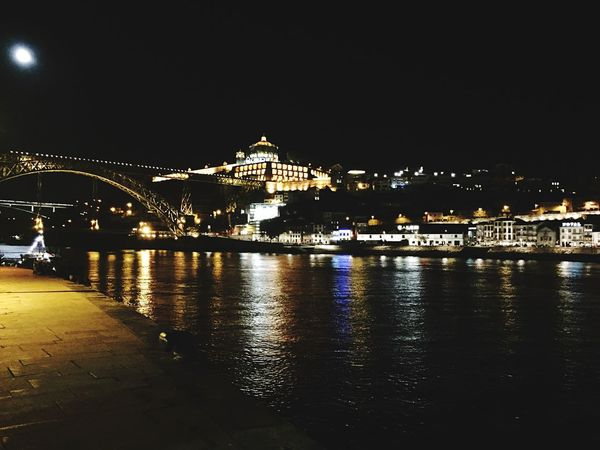 Night Illuminated Architecture Water Built Structure River Connection Building Exterior Sky Bridge - Man Made Structure Outdoors No People Clear Sky City Cityscape Nautical Vessel Porto Portugal 🇵🇹 Rio Douro River Ponte D Luis
