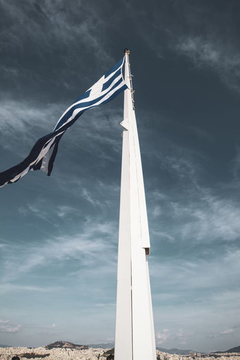 Acropolis Athens Greece Acropolis Cloud - Sky Sky Nature No People Low Angle View Environment Patriotism Flag Wind Day Pole Waving Architecture Built Structure Outdoors Motion Hanging Pride Independence Sailboat