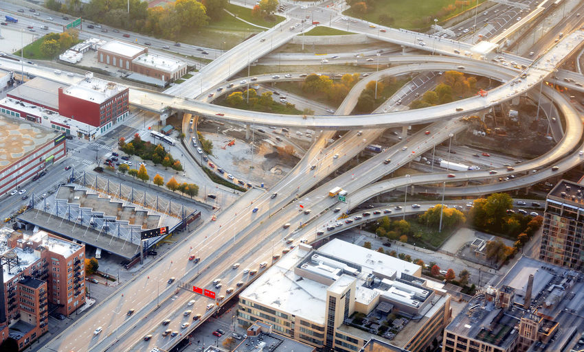 High angle view of traffic on multiple lane highway in city