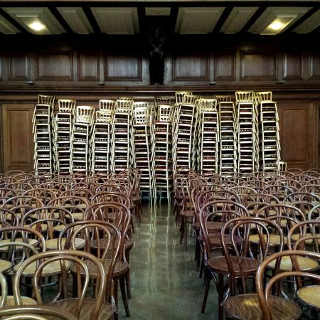'Stack 3' Chairs Wooden Chairs Red And Gold Theatre School Hall Stacked Chairs Panelled Walls Wooden Wall Wooden Ceiling Balcony -- B