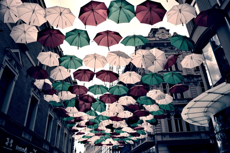 Brno Architecture Brnoismylove Brnoreprezent City Day Flying Umbrellas Low Angle View Multi Colored No People Outdoors Protection Streetart Umbrella Umbrellas Umbrella☂☂
