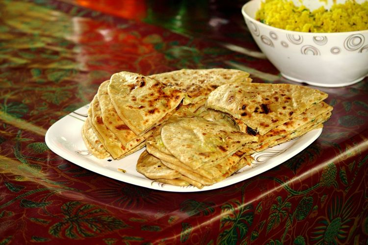 Flatbreads In Plate On Table