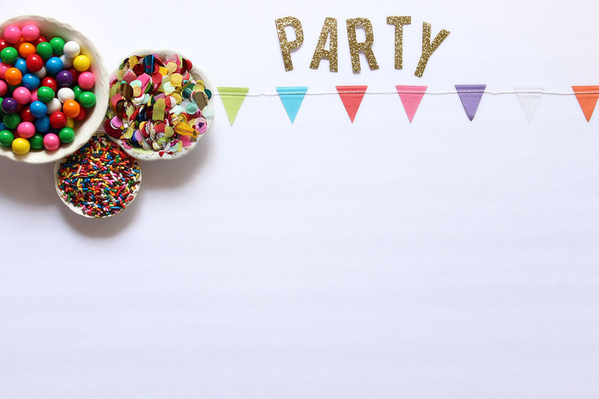 Party on Banner Birthday Blank Poster Border Bright Bubblegum Candy Celebration Colorful Confetti Copy Space Decorations Directly Above Festive Frame Fun Greeting Card  Multi Colored Party Background Rainbow Colors Sprinkles Treats Whimsical