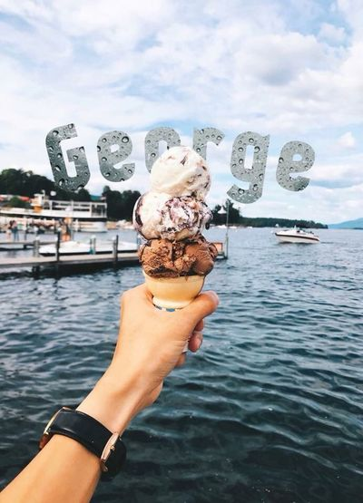 Lake George Lakegeorge Water Sky Human Hand Hand Real People One Person Leisure Activity Sweet Food Sea Cloud - Sky Ice Cream Lifestyles First Eyeem Photo Holiday Moments