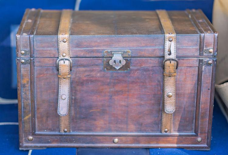 Close-up of closed treasure chest