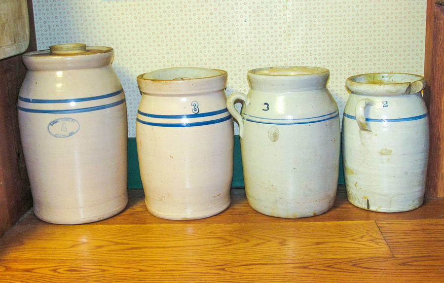 Indoors  Variation Jar No People Day Close-up Butter Churn Homemade Kitchen Utensils Kitchen Ware Cooking Cookware Cooking Utensil Antebellum Interior Vintage Antique Antique Cookware Stoneware Jugs Group Of Objects Different Sizes Churning Milk Churn Milk Jugs